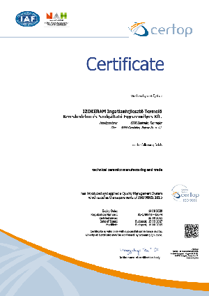ISO 9001 certificate - Oxide ceramics - IZOKERAM Co. Ltd.